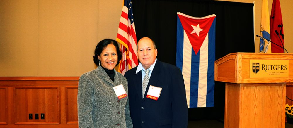 Photo of two distinguished scholars from the Faculty of Latin American Social Sciences Havana Cuba