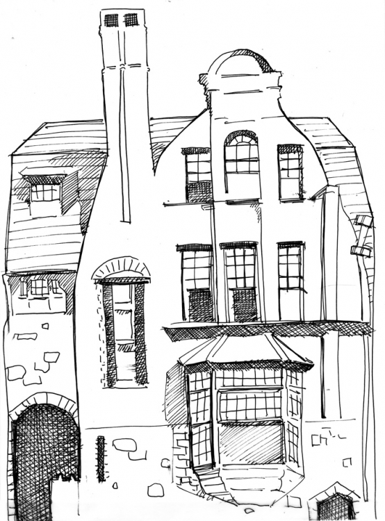 Cooper Street Building Ink Drawing